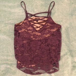 NWOT Express Tiered Lace V-Neck Tank Top Purple S